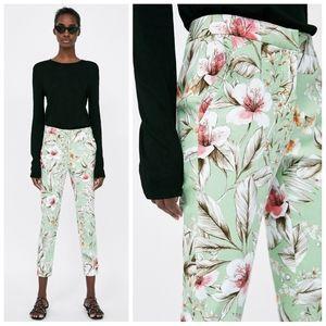 ZARA floral straight leg ruffle pocket chino pants